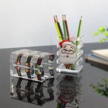 Portalápices de acrílico transparente de Navidad personalizado