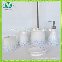 Purple Sinensis Flower Ceramic Cheap Bathroom Accessories Sets