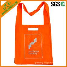Logo printed reusable handled non woven long strap shopping bag