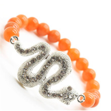 Red Aventurine Gemstone Bracelet with Diamante Snake Piece