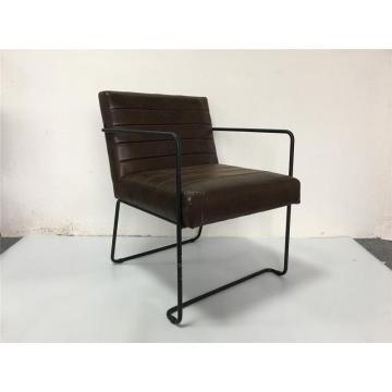 Brown PU leather dining chair