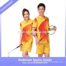 Nuevo diseño de badminton equipo jersey unisex, pantalones cortos al por mayor, venta caliente mujeres de voleibol equipo jersey calidad A