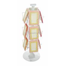 White Powdered Geschenke Einzelhandel Store Postkarte Inhaber 3-Layer Metal Wire Single Book Display Stand