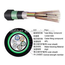 Cable de fibra óptica al aire libre acorazado GYTA53 del solo modo 24 de la base