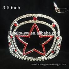 fashion metal silver plating full crystals star custom crown headband