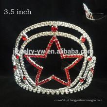 Moda metal prata chapeamento cristais completa estrela costume coroa headband