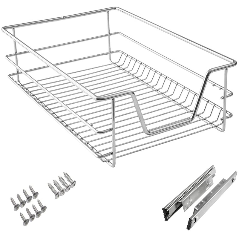 Chrome Finish Kitchen Slide Out Wire Storage Basket