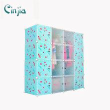 Gabinete de almacenamiento de plástico de cereza Blue Wardrobe