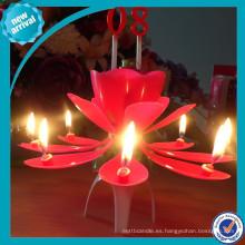 Flor giratoria música vela de cumpleaños al por mayor