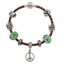 YiWu FashionJewelry Bracelet en cuir tissé Bracelet pendentif populaire