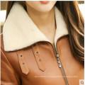 Новый дизайн короткий Стиль дубленки кожаные пальто для женщин Wholesell