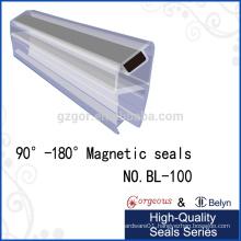 Shower Door Magnetic Seal Strip PVC Glass Edge Strip for Shower Door