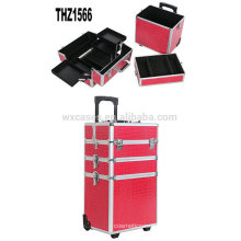 Cheap professional cosmetic trolley cases aluminum with different color options from China Foshan