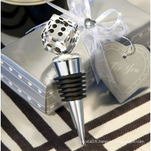 Crystal Dice Wine Bottle Stopper - Gift Boxed
