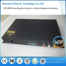 commercial advertising HD media player with vga