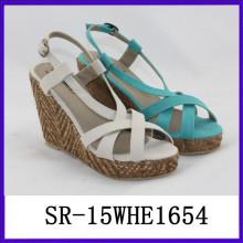 Sandalia de lujo de las señoras de la manera calificada señoras sandalias los últimos diseños de las sandalias de las señoras