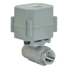 220V Actionneur à débit motorisé Vanne à bille en acier inoxydable Vanne à eau de commande électrique (T15-S2-C)