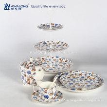 Volles Abziehbild blaues Blumenmuster Abendessen Set Porzellan Geschirr Kaffeetasse