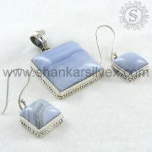 La joyería azul aristocrática de la plata de la piedra preciosa de la ágata del cordón fijó la joyería al por mayor de la joyería de la plata esterlina