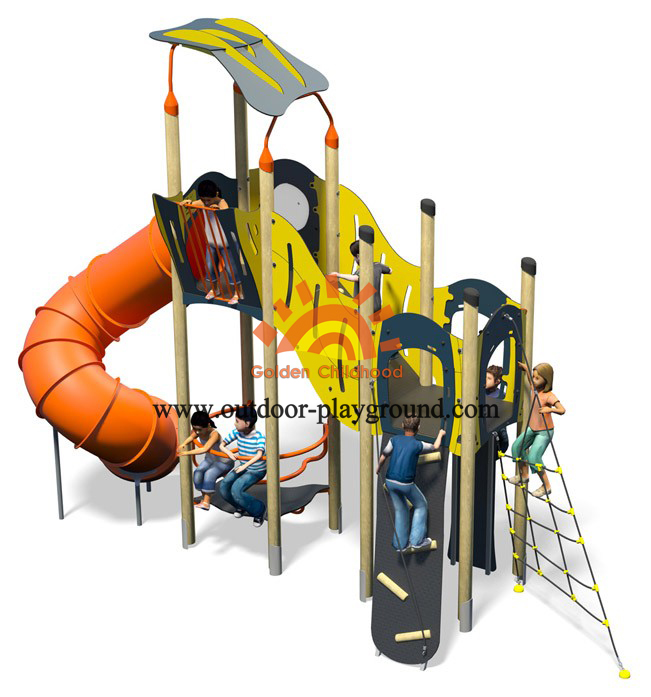 outdoor tube slide playground structure
