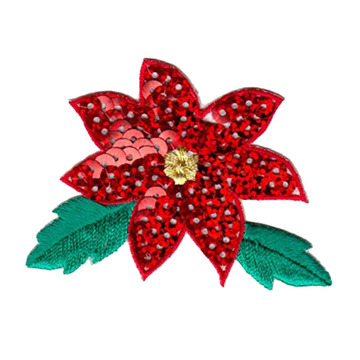 Xmas Poinsettia Flower Embroidered Patch Applique