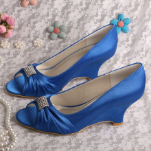 Royal Blue Evening Shoes Wedge Heel