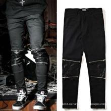 Штаны с застежкой-молнией из коленей вскользь Черные брюки