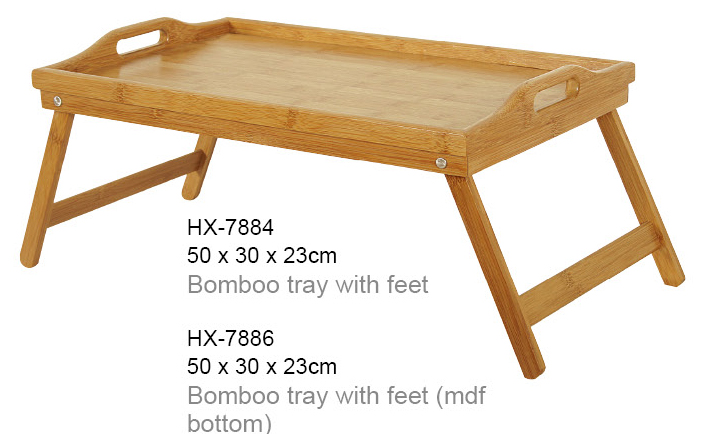 bamboo tray with foldable leg