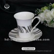 Versilbertes Abziehbild keramische Teetasse und Untertasse, Kaffeetasse und Untertasse