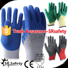 SRSAFETY 10 gauge grey polycotton liner 3/4 coated blue latex on palm safety gloves/Man's working gloves on palm