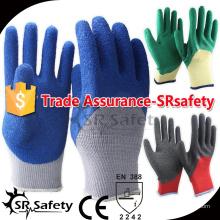 SRSAFETY 10 серый серый поликатоновый вкладыш 3/4 покрытый голубой латекс на ладонных защитных перчатках / мужские рабочие перчатки на ладони