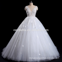 Vestido de noiva de renda branca 2016 com profundidade V-Back e V-Neck