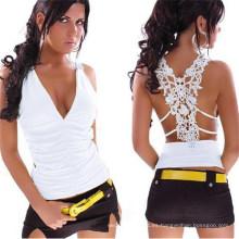 Blusa sin mangas de las blusas sin cuello con cuello en V sin mangas estilo occidental para mujeres