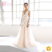 2017 Último vestido de noiva nupcial e nupcial sem mangas