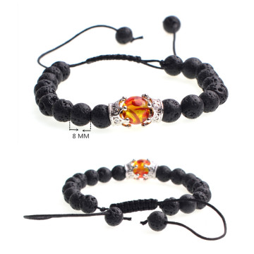Lava Stone Beads Amber Crown Charm Woven Bracelet