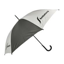 Regular City Stick 46 '' mehrfarbiger Logo-Druck maßgeschneiderte Marke chinesischen automatischen billigen Regenschirm mit Kunststoff krummen Griff