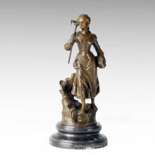 Classical Figure Statue Village Farm Woman Bronze Sculpture TPE-279