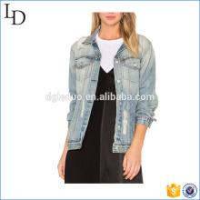 Chaqueta de mezclilla de estilo novio de las mujeres llano jeans desgastados chaqueta de mezclilla chaqueta de las mujeres