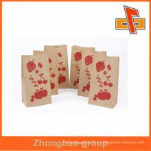Custm impresso kraft saco de papel calor selo kraft papel pão saco