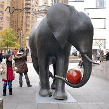 Grande esculturas de cobre ao ar livre de metal artesanato de bronze elefante estátua para decoração de casa
