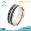 Mens titânio anéis de madeira inlay, jóias de titânio prata anel de banda