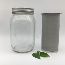 150 micron stainless steel cold brew coffee filter tube for mason jar