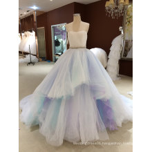 Princess Strapless Sleeveless Sky Blue Wedding Dress