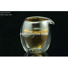 Jarro de vidrio de doble capa de borosilicato / taza de vidrio