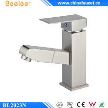 Beeleee moderno escovado níquel banheiro retirar torneira da bacia