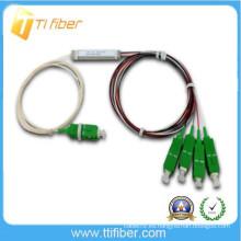 Divisor de fibra óptica de 1/4 plc con fibra de 0.9mm y conector SC / APC
