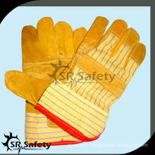 SRSAFETY Yellow striped cotton back cut resistant leather working gloves