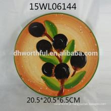 Bandeja de cerâmica redonda por atacado com design azeitona