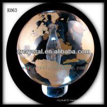 sandblated k9 crystal glass ball