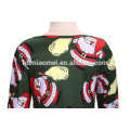 2017 New Model Santa Claus Printed Green Color Girl Party Wear Western Dress For Christmas